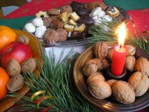 Holiday table and food Stock Images