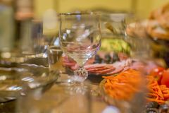 Holiday table through the glass royalty free stock images