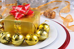 Holiday Table with Present Stock Photo