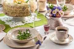 Holiday table ready for acceptance guests Royalty Free Stock Images