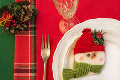 Holiday table setting with Christmas decorations. Stock Photography