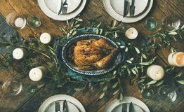 Holiday table setting for party, gathering or celebration roast chicken Stock Image