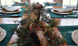 Holiday Table Setting with Pine, Birch, and Berry Centerpiece. A festive scene with a woodsy, natural centerpiee and place settings at a well-lit table Stock Images