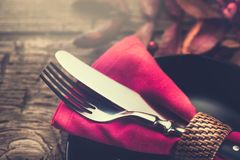 Holiday table settings. Thanksgiving dinner. Wooden table served, decorated stock images