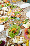 Holiday table with tasty food Stock Image