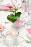 Holiday tableware. In white and pink colors Stock Images