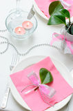 Holiday tableware. In white and pink colors Stock Photography