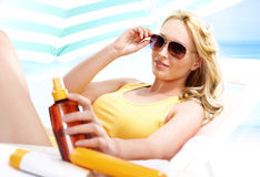 Holiday tan - healthy tanning Stock Photo