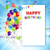 Festive Happy Birthday card template. Holiday template for design banner,ticket, leaflet, card, poster and so on. Happy birthday background and balloons Royalty Free Stock Photo
