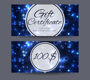 Holiday template gift certificate for shopping, mall Stock Image