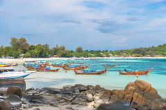 Holiday in Thailand - Beautiful Island of Koh Lipe with long tai Royalty Free Stock Photography