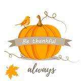 Holiday Thanksgiving background with pumpkin and text.  Royalty Free Stock Photography