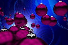 Holiday Theme. Purple Christmas Ornaments on Cool Abstract Blue Background. Great Holiday Background for Your Business Christmas Postcards! 3D Rendered Royalty Free Stock Photography