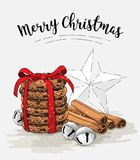 Holiday theme, stack of brown cookies, cinnamon sticks, jingle bells and abstract white star, illustration. Holiday theme, stack of brown cookies, cinnamon Stock Photo