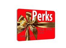 CThis is a holiday themed credit card that offers perks and rewards.