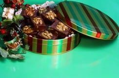 Holiday Tin of Chocolate Fudge Treats Stock Images