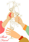 Holiday toast with champagne glasses Stock Images
