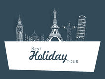 Holiday tour concept with world famous monuments. Royalty Free Stock Photography