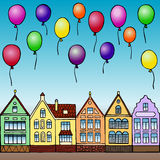 Holiday in town. Vector illustration of hand drawn houses and balloons for invitation, posters, greeting cards, annunciations Stock Photo