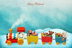 Holiday train with gifts. Holiday greeting card or poster with colorful train with Christmas gifts. Computer graphics royalty free illustration