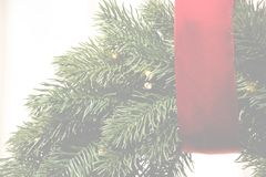 Holiday transparent background with red strip and Christmas wreath. Christmas transparent background with red strip and wreath stock photo