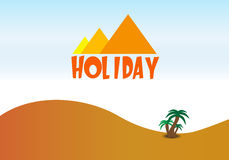 Holiday travel background. With desert and pyramidas Royalty Free Stock Image