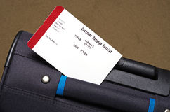 Holiday travel case and baggage receipt Royalty Free Stock Photo