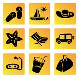 Holiday and travel icons Stock Photography