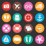 Holiday travel tourism vector icons Stock Photography