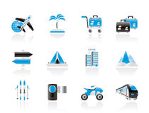 Holiday travel and transportation icons Royalty Free Stock Photography