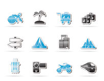 Holiday travel and transportation icons Royalty Free Stock Photo