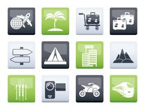 Holiday travel and transportation icons over color background. Vector icon set stock illustration