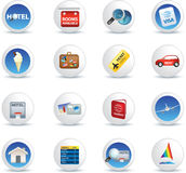 Holiday travel and vacation icons Stock Photos