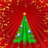 Holiday tree. On red radial background Royalty Free Stock Photo