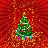 Holiday tree. And gifts on red radial background under shower of golden stars Royalty Free Stock Image