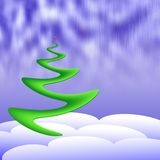 Holiday tree. In the midst of snowdrifts under aurora borealis Royalty Free Stock Photos