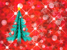 Holiday tree. On abstract red texture Vector Illustration