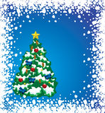 Holiday tree. Vector holiday tree with snow frame Royalty Free Stock Image