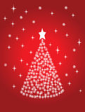 Holiday tree. Vector holiday tree on red background Stock Images