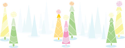 Holiday tree banner. Horizontal  illustration of colorful trees with a winter background royalty free illustration