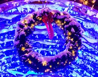 Holiday Trellis Lighting: Christopher Columbus Park royalty free stock image