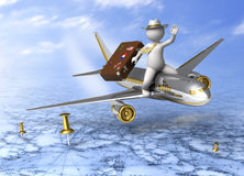 Holiday trip - 3d guy flying. Holidays - 3d guy flying on a plane, carrying his suitcase - Tourism concept Royalty Free Stock Photo