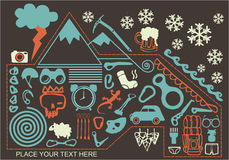 Holiday trip around mountain. Set of climbing equipment, climbing trip, t-shirt design royalty free illustration