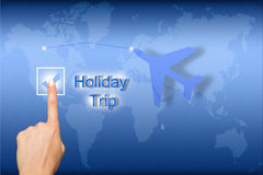 Holiday trip. Concept holiday trip with finger pressing social icons on blue Stock Photography