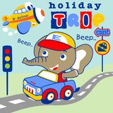 Holiday trip. Cute elephant drive a car on holiday trip with a plane, vector cartoon. EPS 10 Stock Photography