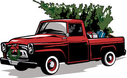 Old Red Truck With Christmas Tree In Back.Old Red Truck With Christmas Tree Stock Photo 80087363