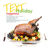 Holiday turkey. Holiday roasted turkey. Copy space Stock Images