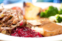 Holiday turkey dinner. Holiday feast turkey dinner with cranberry sauce, roasted vegetables and brussel sprouts Stock Photos