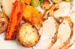 Holiday turkey dinner. Holiday feast turkey dinner with cranberry sauce, roasted vegetables and brussels sprouts Stock Image