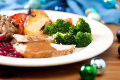 Holiday turkey dinner. Holiday feast turkey dinner with cranberry sauce, roasted vegetables and brussels sprouts Stock Photo